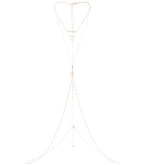 Rose Gold Layered Stone Bodychain | New Look