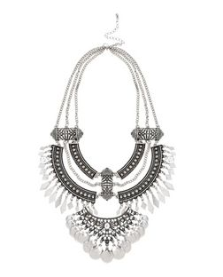 Silver Coin Spike Necklace | New Look