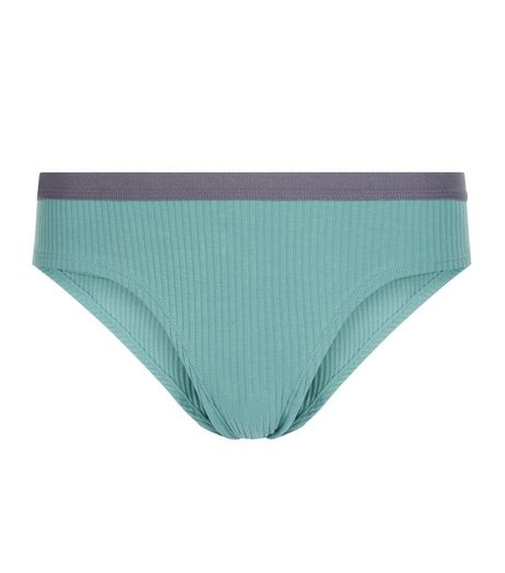 Green Contrast Trim Ribbed Briefs | New Look