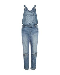 Anita and Green Blue Ripped Knee Dungarees | New Look