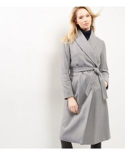 Grey Belt Longline Coat | New Look