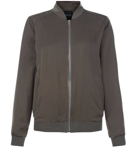 Khaki Sateen Bomber Jacket  | New Look