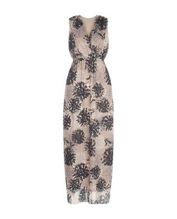 Apricot Stone Floral Print V-Neck Maxi Dress | New Look