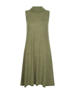 Apricot Khaki Cowl Neck Sleeveless Dress | New Look