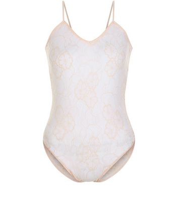 Product photo of Shell pink floral lace v neck bodysuit