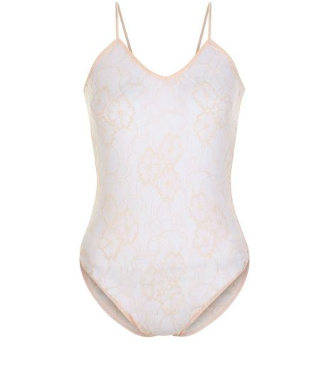Shell Pink Floral Lace V Neck Bodysuit  | New Look