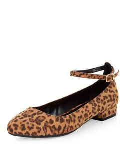 Stone Animal Print Ankle Strap Pumps | New Look