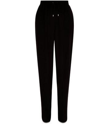 Black Contrast Curved Hem Trousers
