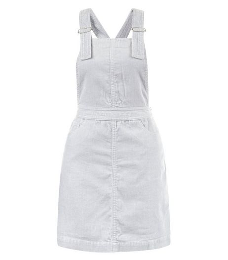 Grey Cord Dungaree Pinafore Dress | New Look