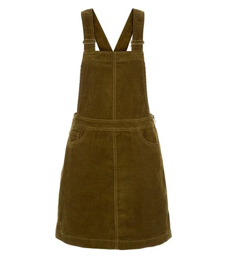 Khaki Cord Pinafore Dress | New Look