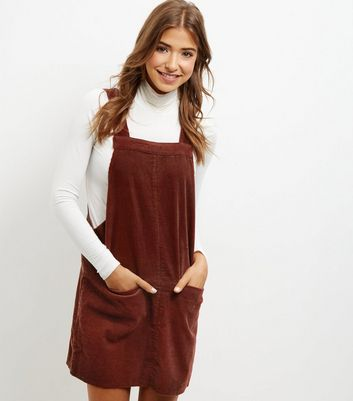 Product photo of Brown cord dungaree pinafore dress