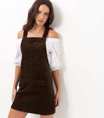 Product photo of Dark brown khaki cord pinafore dress