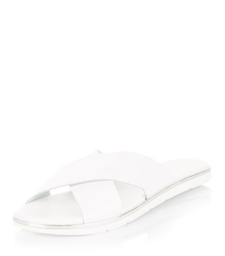 White Leather Cross Strap Sliders  | New Look