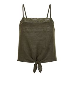 Teens Khaki Lace Trim Tie Front Cami  | New Look