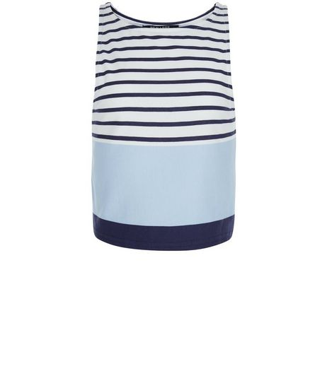Teens Blue Colour Block Stripe Vest | New Look