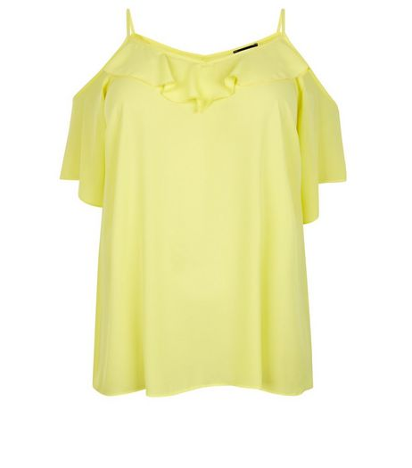Curves Yellow Ruffle Trim Cold Shoulder Top | New Look