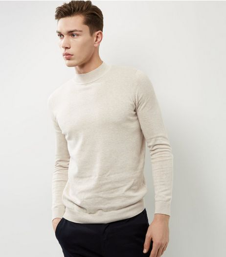 Oatmeal Long Sleeve Turtle Neck Jumper  | New Look