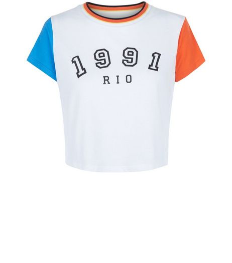 Teens White 1991 Rio Colour Block Crop Top | New Look