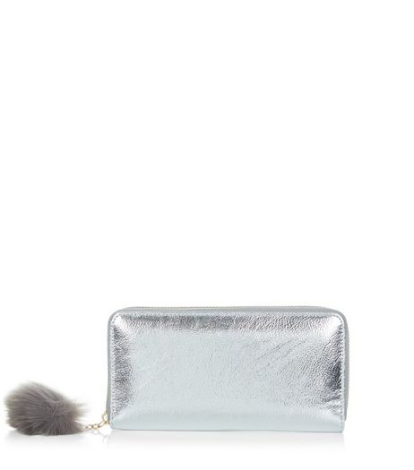 Silver Pom Pom Zip Around Purse  | New Look
