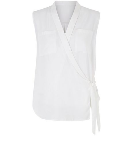 Cameo Rose White Wrap Tie Side Top | New Look