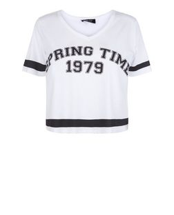 Teens White Spring Time Print V Neck T-Shirt | New Look
