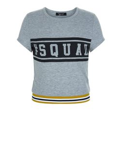 Teens Grey Sqaud Print Stripe Trim Crop Top | New Look