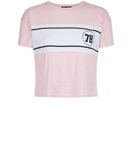 Teens Pink 78 Print Colour Block Crop Top  | New Look