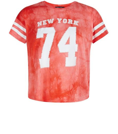 Teens Orange Tie Die New York 74 Crop Top | New Look