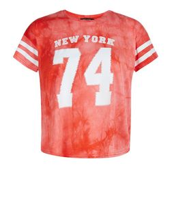 Teens Orange Tie Die New York 74 Print Crop Top | New Look