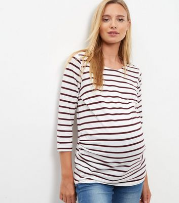 Product photo of Maternity red stripe 3 4 sleeve top