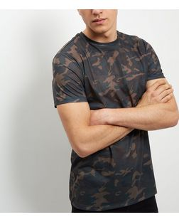 Khaki Camo Print T-Shirt  | New Look