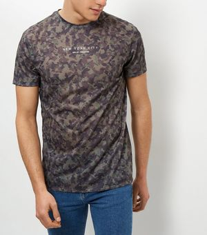 Khaki new york city camo print t shirt for New york printed t shirts