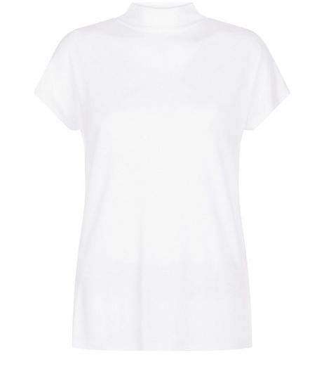 White Funnel Neck T-Shirt  | New Look