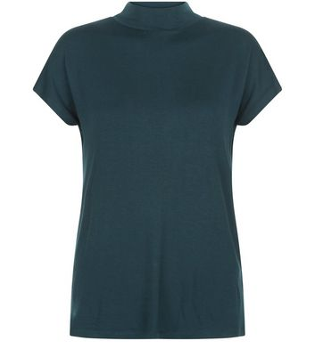 Dark Green Funnel Neck T-Shirt