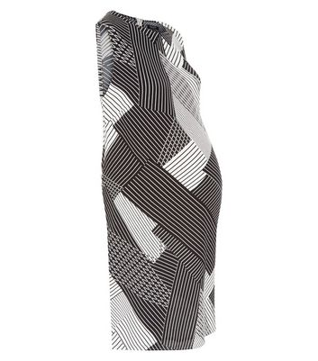 Product photo of Maternity white abstract stripe tunic dress
