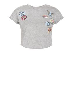 Girls Grey Badge Short Sleeve T-Shirt | New Look