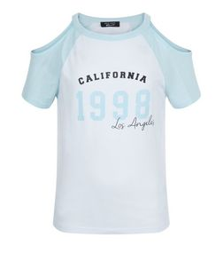 Girls White California Print Colour Block Cold Shoulder Top | New Look