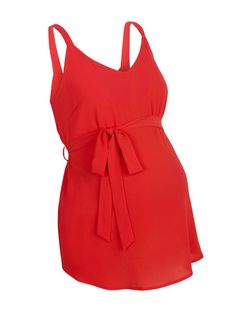 Maternity Red Belted Cami | New Look