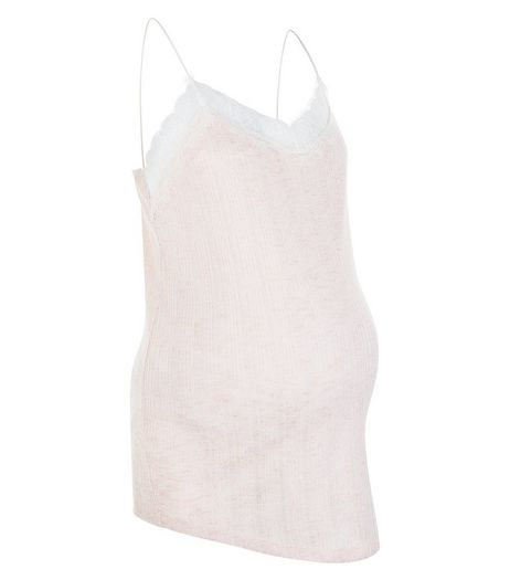 Maternity Pink Stripe Lace Trim Cami | New Look