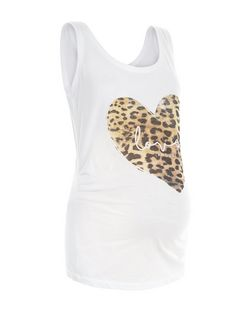 Maternity White Animal Print Heart Vest | New Look
