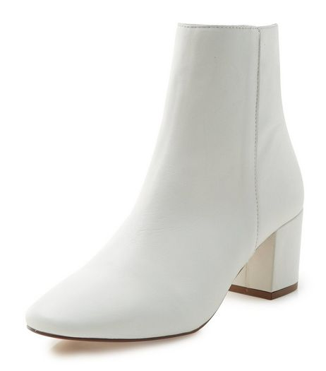 White Premium Leather Pointed Block Heel Ankle Boots  | New Look