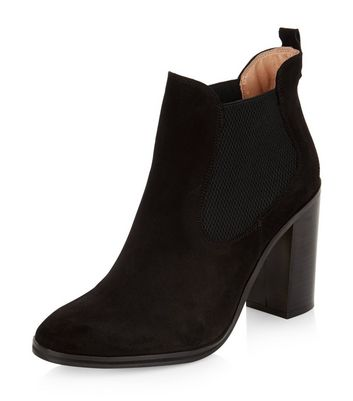 black-suede-chelsea-block-heel-boots