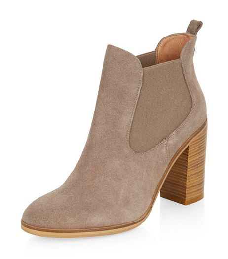 Grey Suede Chelsea Block Heel Boots | New Look