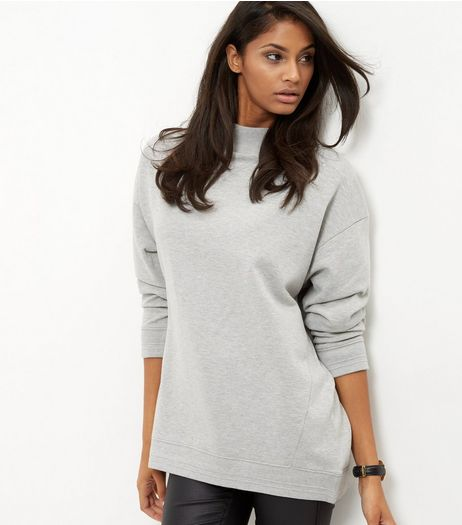 Grey Funnel Neck Longline Sweater  | New Look