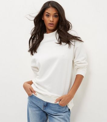 Cream Funnel Neck Longline Sweater