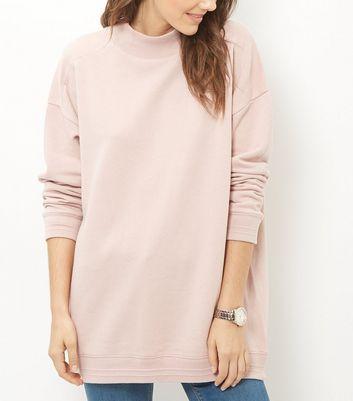 Shell Pink Funnel Neck Longline Sweater