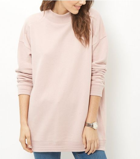 Shell Pink Funnel Neck Longline Sweater  | New Look