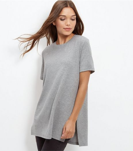 Grey Longline Split Side T-Shirt  | New Look