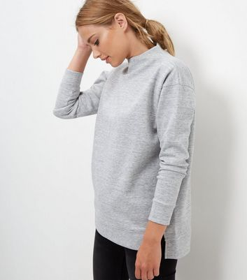 Grey Funnel Neck Zip Back Sweater