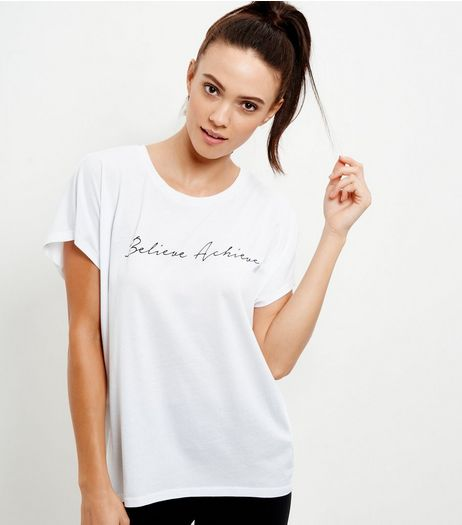 White Believe Achieve Print Sports T-Shirt | New Look